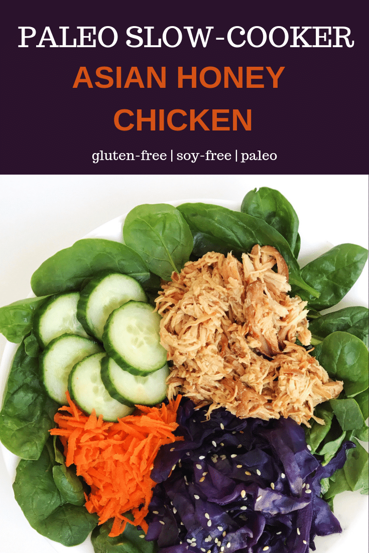 A bowl with slow-cooker Asian inspired chicken, cucumber slices, carrot, and sauteed purple cabbage on a bed a spinach
