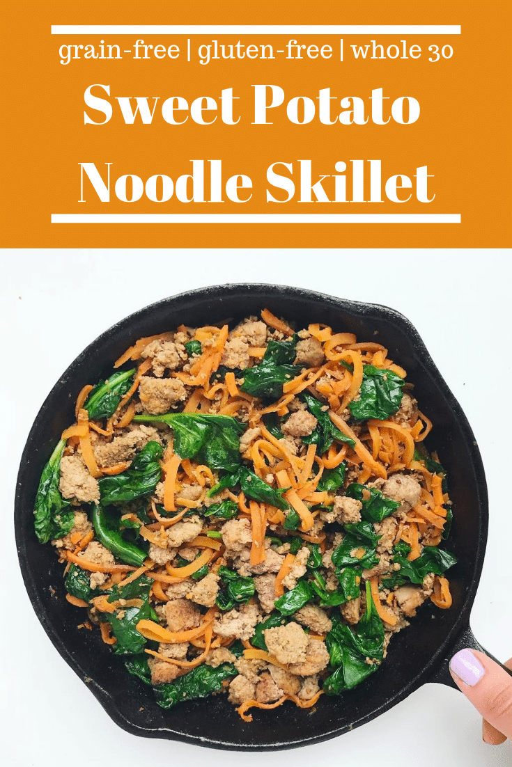 Sweet Potato Noodles With Ground Turkey and Spinach