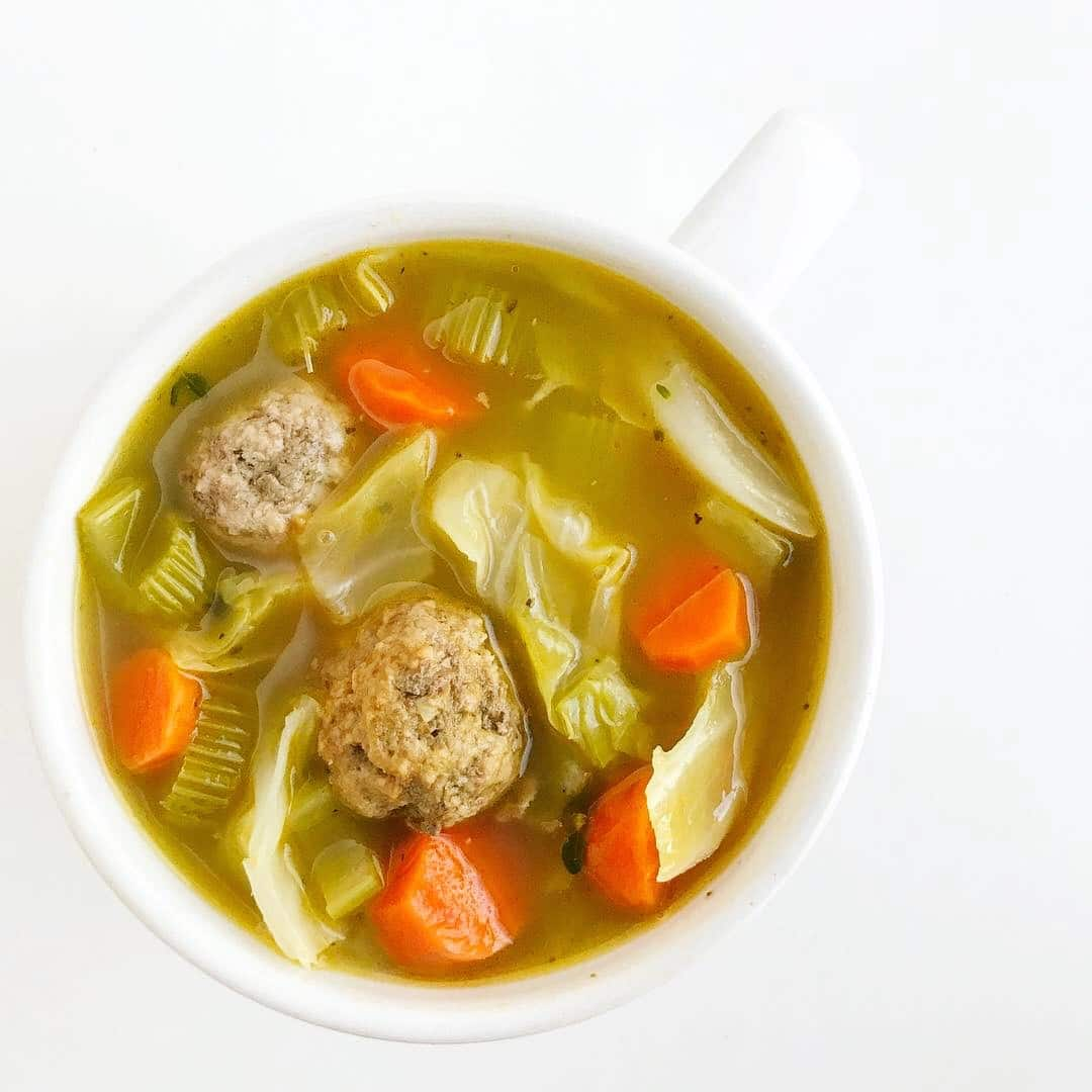 A mug of Turkey Meatball Cabbage Soup