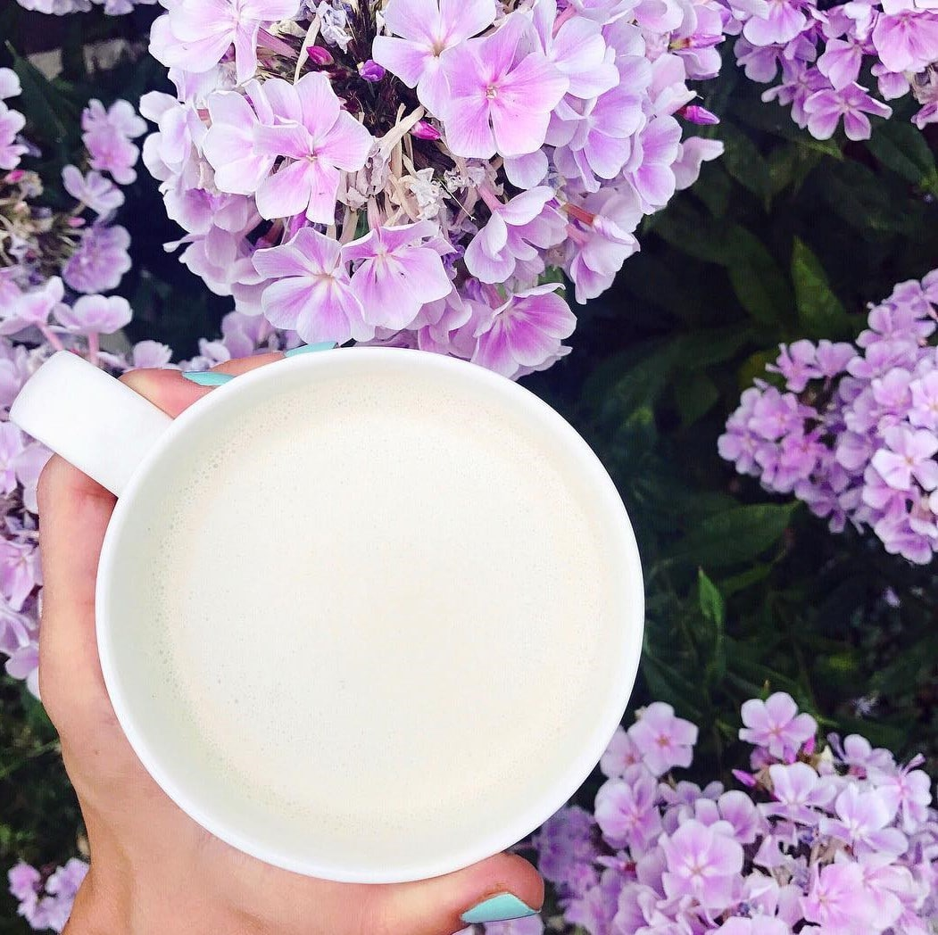 hand holding mug of tea in front of purple flowers