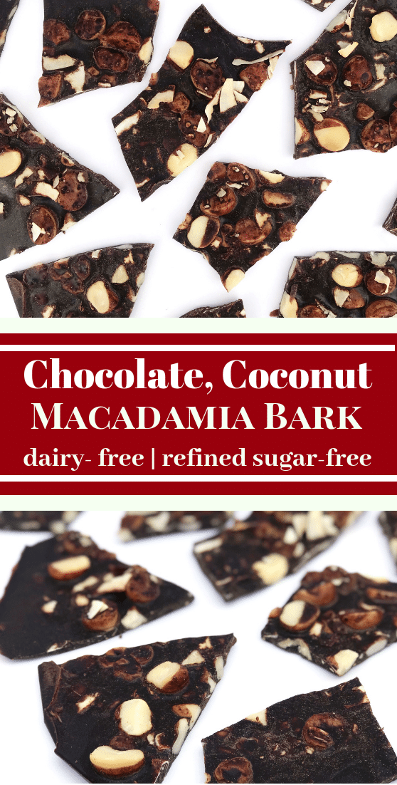 You'll love this heavenly dairy-free Chocolate, Coconut, Macadamia Bark #dairyfreedesserts #dairyfreechocolate