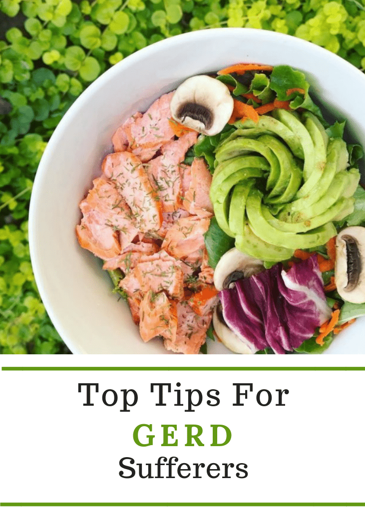 Top tips for GERD sufferers featuring a bowl of salmon, mushrooms, greens, and an avocado rose.