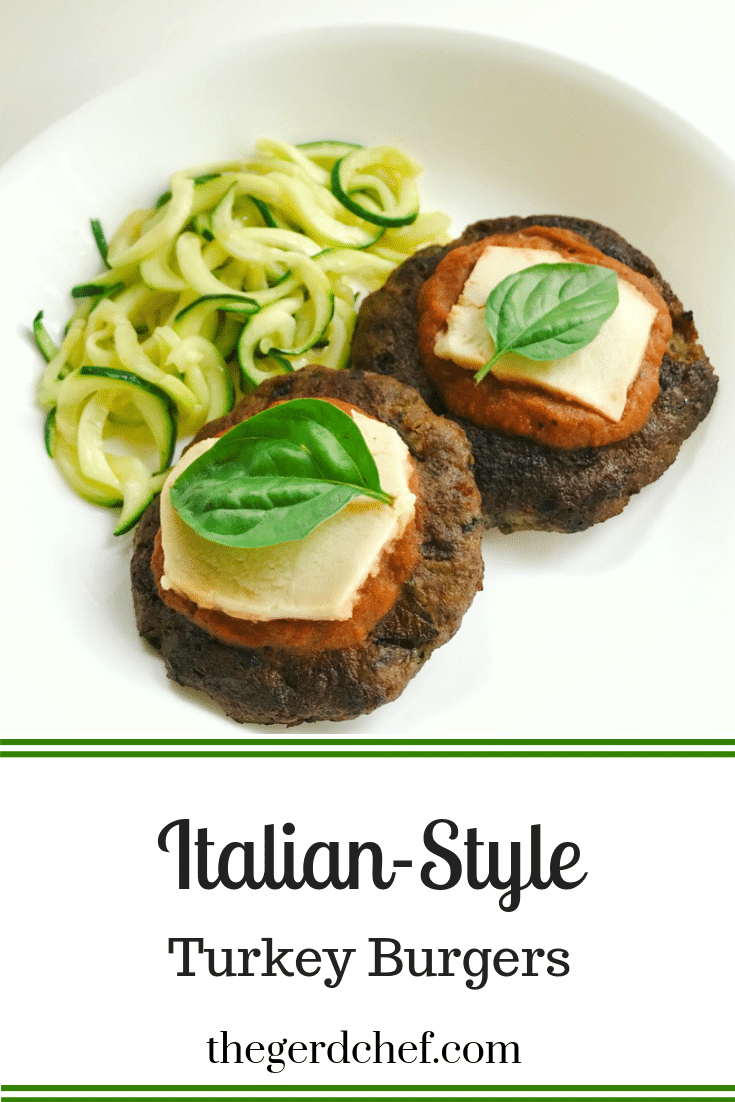 Italian-Style Turkey Burgers topped with tomato-free pasta sauce, mozzarella, and fresh basil.