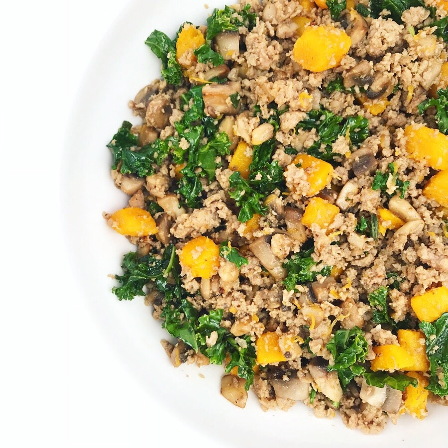 Harvest Pumpkin Hash; a medley of pumpkin, mushrooms, kale, ground turkey, and fresh herbs.