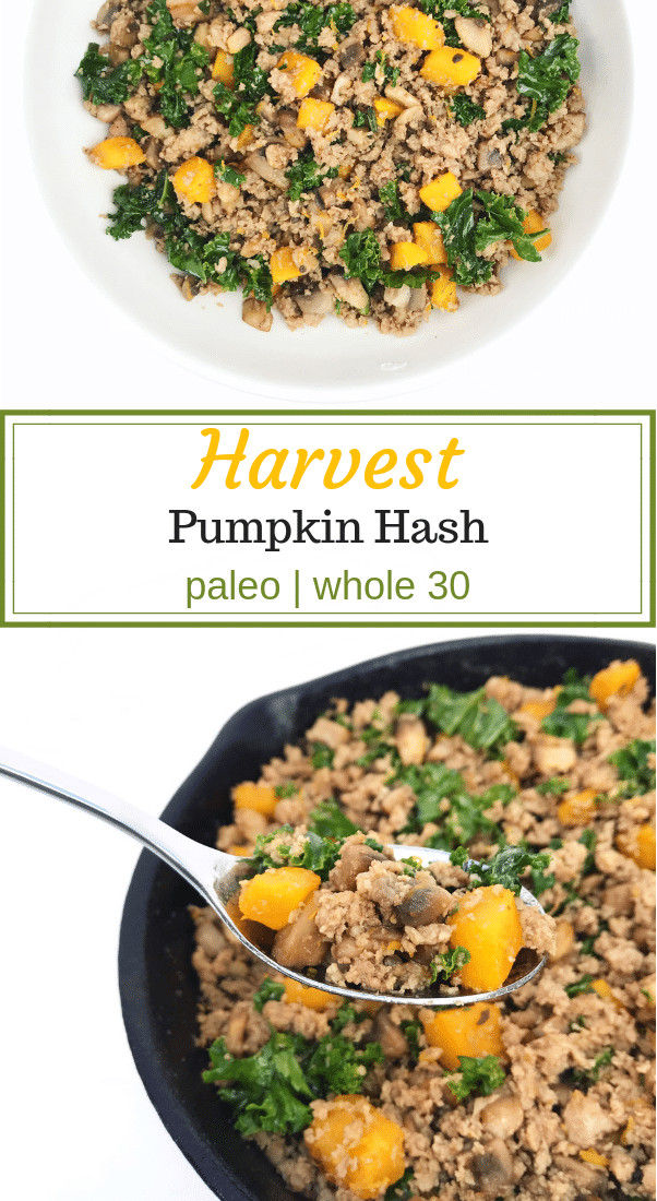 Harvest Pumpkin Hash; a medley of pumpkin, mushrooms, kale, and ground turkey.