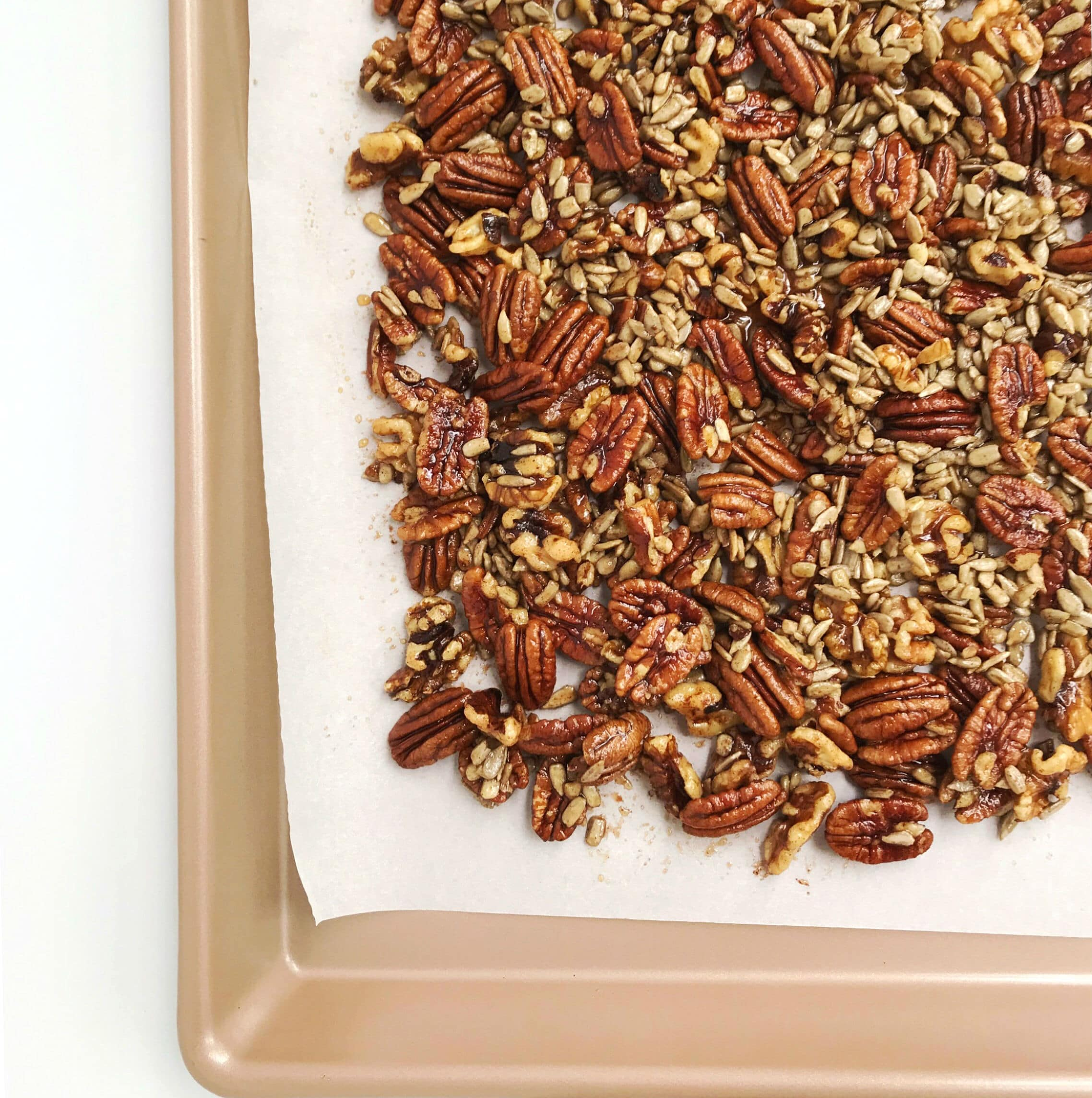 A baking sheet with grain-free cinnamon apple granola on it.