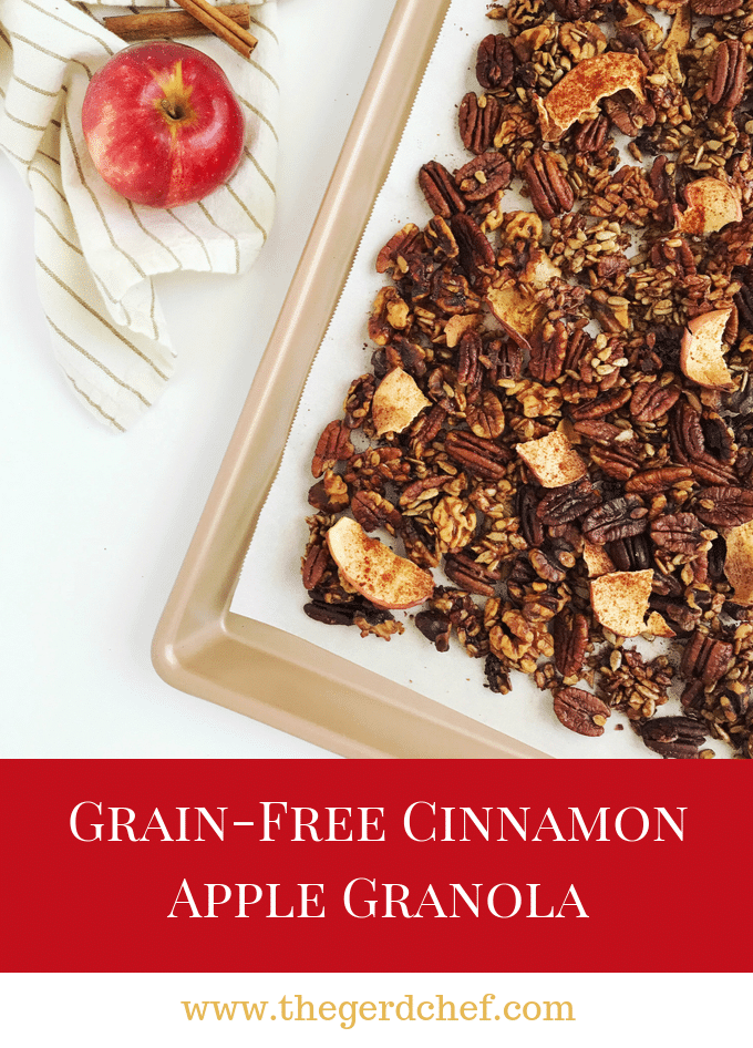 Grain-free Cinnamon Apple Granola— a mildly sweet, fall-inspired snack or breakfast addition, with hints of maple and cinnamon. This recipe is paleo, gluten-free, & vegan. Read more to see the recipe, plus tips on how to make nuts and seeds easier to digest!