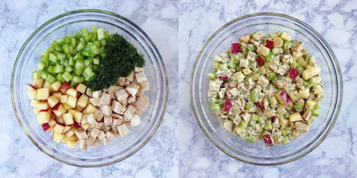 A side by side picture of mixing bowls, one with the ingredients in sections and one bowl has the ingredients mixed.