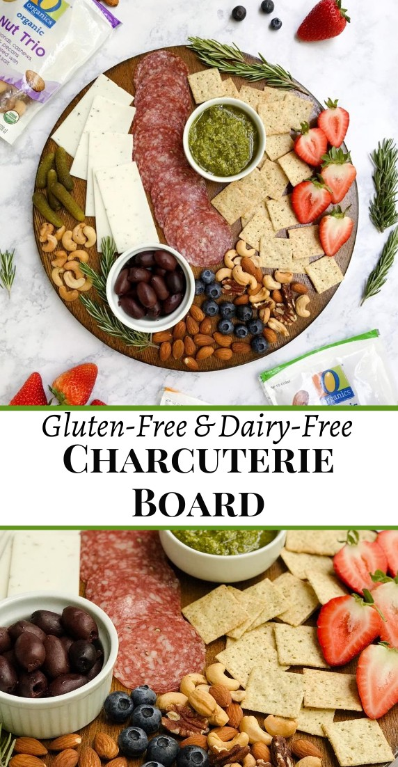 Pinterest Image of a charcuterie board that is gluten and dairy-free with a variety of ingredients such as meat, cheese, crackers, nuts, fruit, etc. Displaying O Organics Nuts in the background.