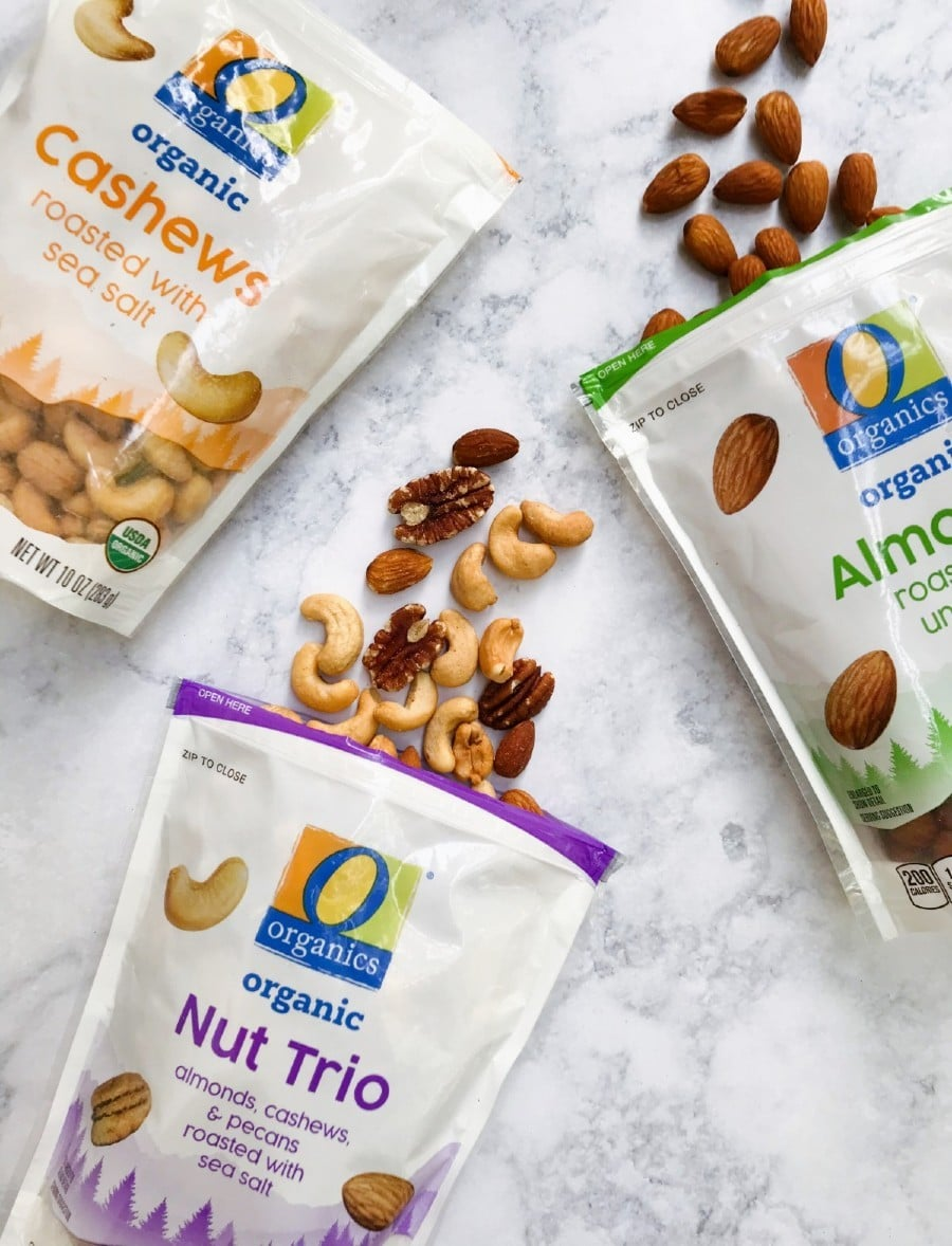 3 bags of O Organics Nuts; cashews, almonds, and nut trio
