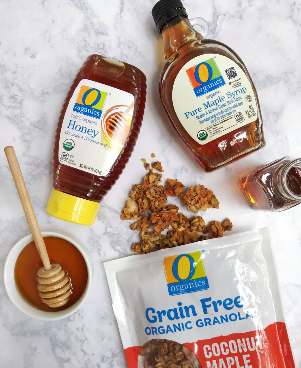 O Organics honey, maple syrup, and grain-free granola